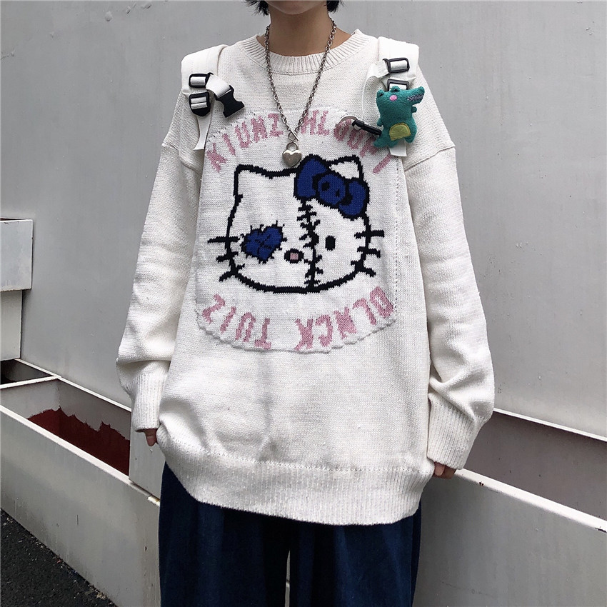 Harajuku Women'S Sweater Pullover Japanese Cartoon Cat Print Lazy Style Loose Large Size Casual Pullover Ladies Sweater