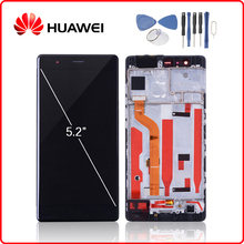 HUAWEI Original P9 LCD Display Touch Screen Digitizer Assembly For Huawei P9 Display with Frame Replacement EVA-L09 EVA-L19 new lcd display touch screen digitizer assembly replacement assembly with tools for huawei p9 smartphones black