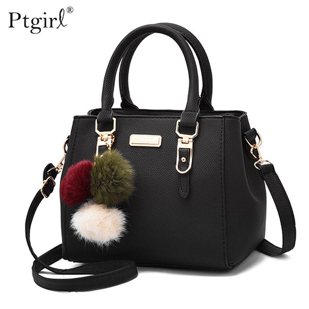 Ptgirl Women Beading Pendant Handbag Ladies Shoulder Messenger Bag High Quality Hairball Bags bolsa feminina transversal fashion