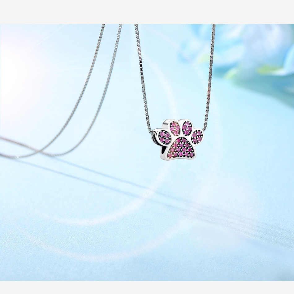 Forewe ピンククリスタルジルコン素敵な動物フットプリント本物の 925 スターリングシルバーフィットチャームブレスレットジュエリー