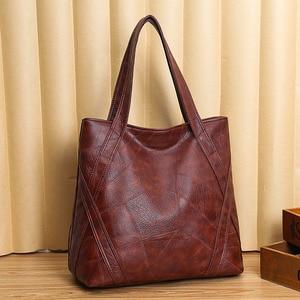 Large Capacity Patchwork Leather Hand Bag Women 2020 Luxury Designer Big Shoulder Hobo Bags Female Causal Totes Shopping Handbag