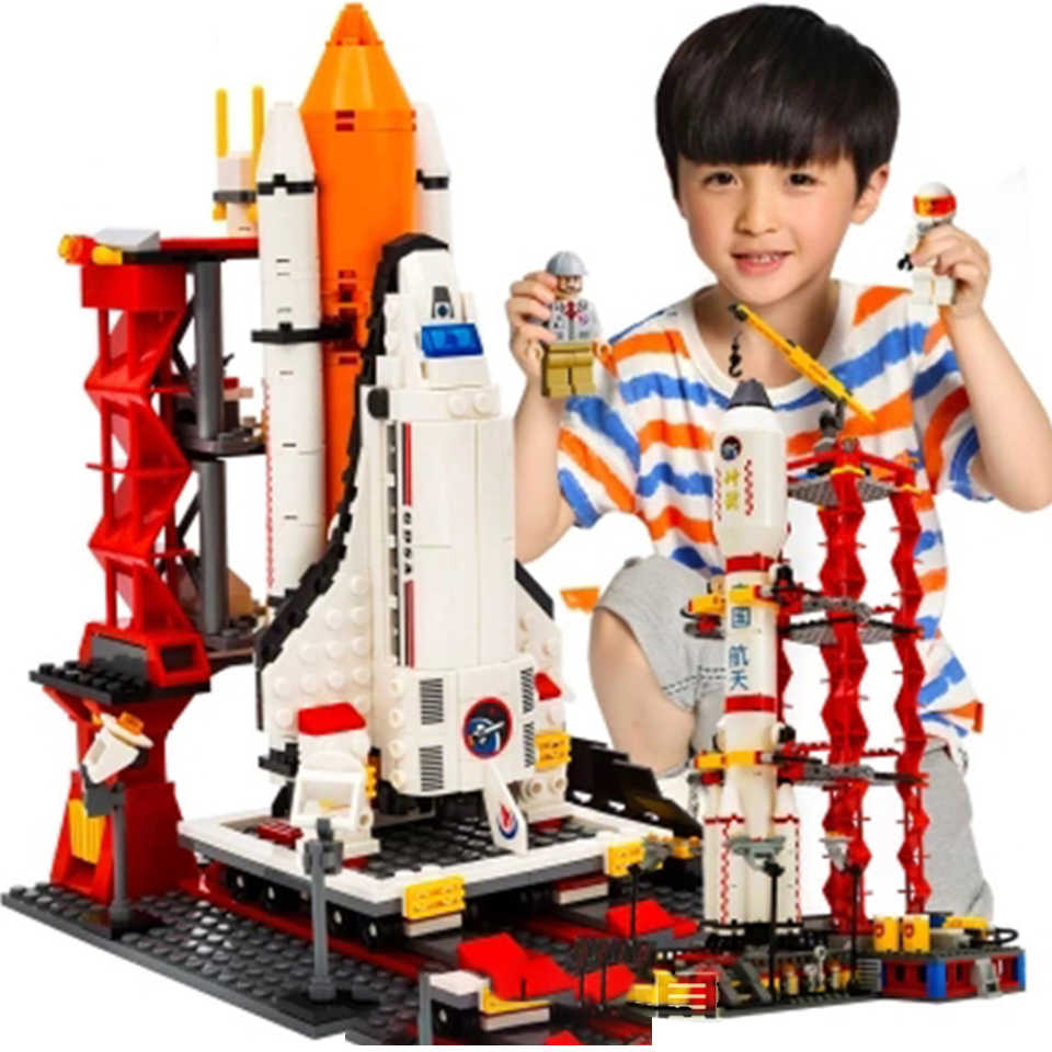 679Pcs Città Spazioporto Space Shuttle Launch Center lepining Mattoni Building Block Giocattolo Educativo Per Bambini di Design Per Blocco