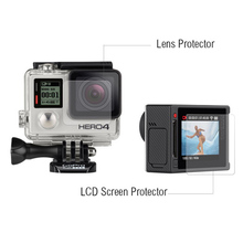 Защита экрана ультрачеткие, ЖК+ Корпус камеры стеклянная Защитная пленка для объектива GoPro HERO 4 Серебристая камера Go pro Аксессуары