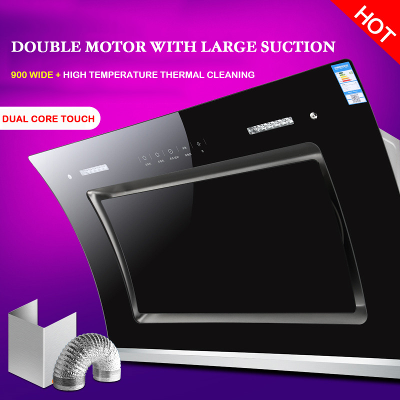Range Hood Double Motor Heat Cleaning Larger Suction Range Hood Side Suction Range Hood