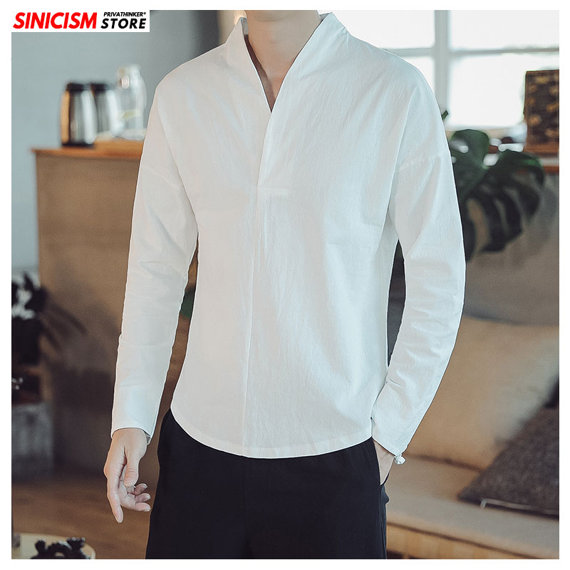 Sinicism Store Autumn Men Oversize Long Sleeve Solid Shirts Mens Chinese Style Cotton Linen Clothes Male 2019 V-neck Shirt Top