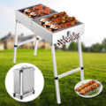 Parrilla de barbacoa de carbón portátil plegada 32x12 pulgadas al aire libre de acero inoxidable Kebab parrilla plegable Parrilla portátil perfecta para acampar