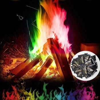 Trucos de magia para magos místico fuego Color llama polvo Bonfire colorante agente Fiesta al aire libre suministros de entrega rápida