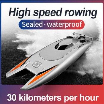 2,4G Радио пульт дистанционного управления гребная лодка 7,4 V Емкость батареи двойной двигатель Rc лодка 30 км в час игрушки для детей Рождестве...