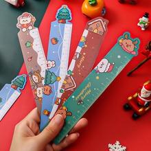 Christmas Magnetic Straightedge Elementary School Cartoon Drawing Measuring Ruler Multifunctional Learning Gift Magnet Ruler