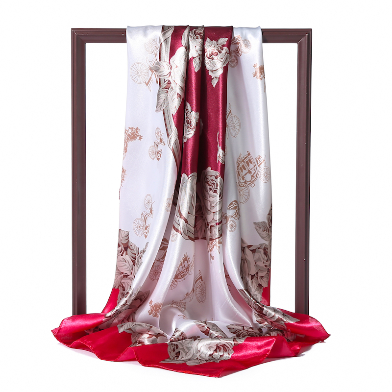 90*90cm Women Silk Scarf Square Hijab Neck Scarves Head Band Elegant Floral Print Satin Shawls Lady Wraps Foulard Pashmina