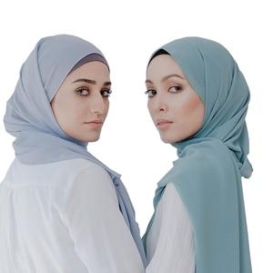 Image 4 - Мусульманский шарф, женский простой пузырьковый шифоновый хиджаб, шарф, мягкие длинные мусульманский головной платок, жоржетты, шарфы, хиджабы 50 цветов