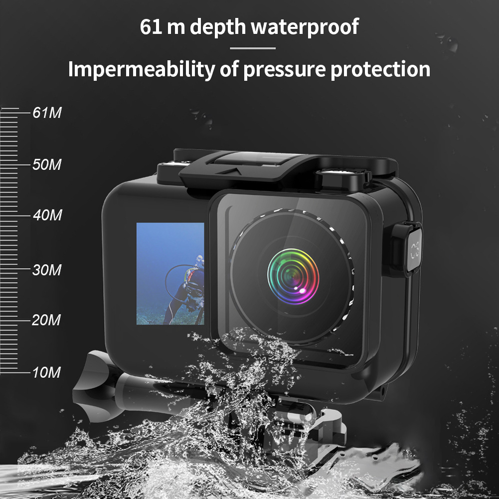 Купить с кэшбэком Photography Protection Coated Selfies Underwater Swimming Outdoor Waterproof Housing Case Shell For DJI Osmo Action Camera