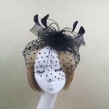 Элегантный цветок бисер с перьями сетки корсаж заколки для волос вечерние свадебные сетки аксессуары для волос головной убор Тиара шляпа