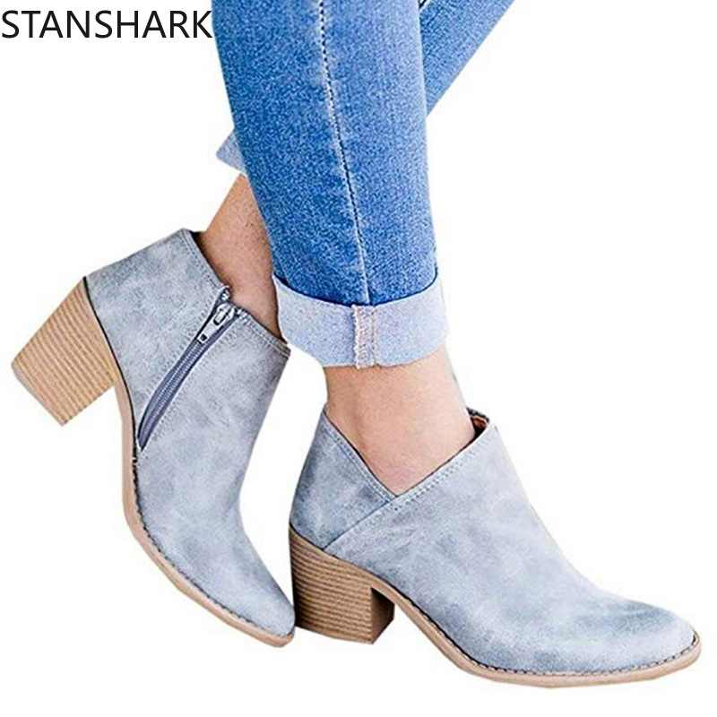 2019 New Women Chic Autumn Women Shoes Retro High Heel Ankle Boots Female Block Mid Heels Casual Botas Mujer Booties Feminina