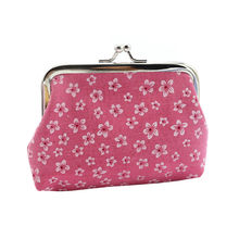 Retro Flowers Women's Coin Purse Short Student Cute Mini Coin Bag Small Wallet Keychain Small Bag Coin Wallets Porte Monnaie(China)