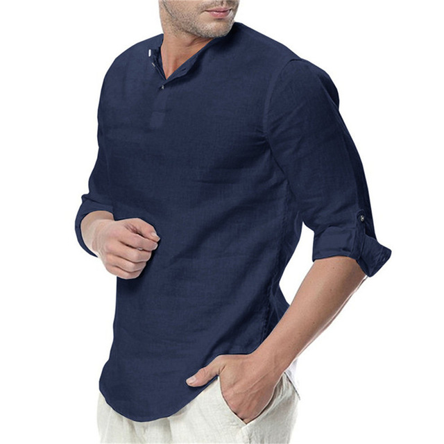 2020 new men's summer long-sleeved cotton linen long-sleeved cotton casual breathable shirt style solid color men's shirt