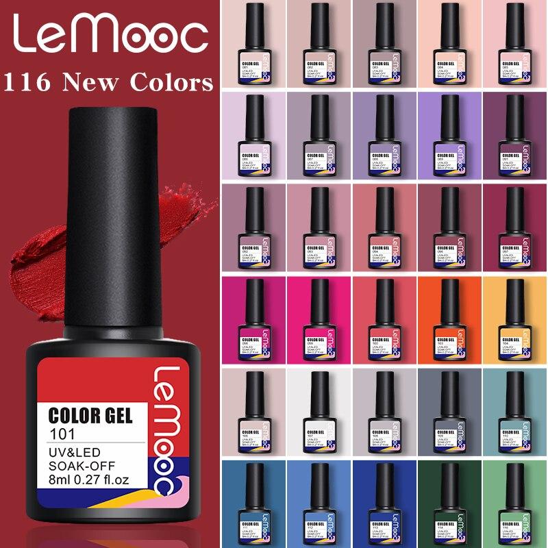 Lemooc Новинка, бесплатная доставка, дизайн ногтей, маникюр, 116 Цветов, 8 мл, удаляемый замачиванием, эмалированный Гель-лак, блестящий лак