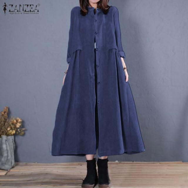 Plus Size ZANZEA Spring Long Cardigan Women Casual Solid Long Sleeve Work Denim Blue Shirt Vestido Blouse Outwear Coats Tunic 7 8