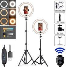 10in fotografia led selfie anel de luz com tripé suporte câmera photo studio círculo ringlight telefone lâmpada maquiagem vídeo youtube
