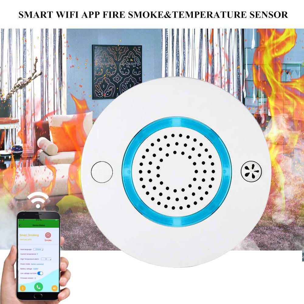 Smart Wireless WIFI+APP Fire Smoke & Temperature Sensor Wireless Smoke Temperature Detector Home Security Alarm System