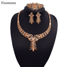 2019Dubai jewelry sets Elegant womens african Bridal Jewelry Sets wedding silver / gold color fine necklace jewellery