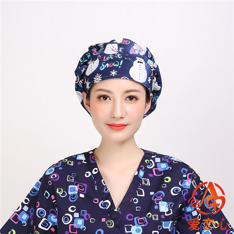 All Cotton Printed Operating Room Hat Female Doctor Nurse Wrap Head Scarf Long Hair Work Cap