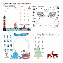 Mat Photography-Prop Milestone-Blanket Monthly Baby-Girls-Boys Newborn Swaddle Shower-Gifts