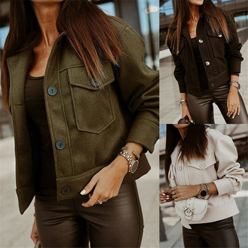 Women Jacket Slim Solid Single Breasted Turn Down Collar Short Undefined Femme Clothing куртка рубашка женское