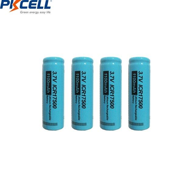 4 PKCELL ICR17500 Pin 1100MAh 3.7V Li ion Sạc Pin Lithium Cho Đèn Pin Lược Điện Máy Cạo Râu