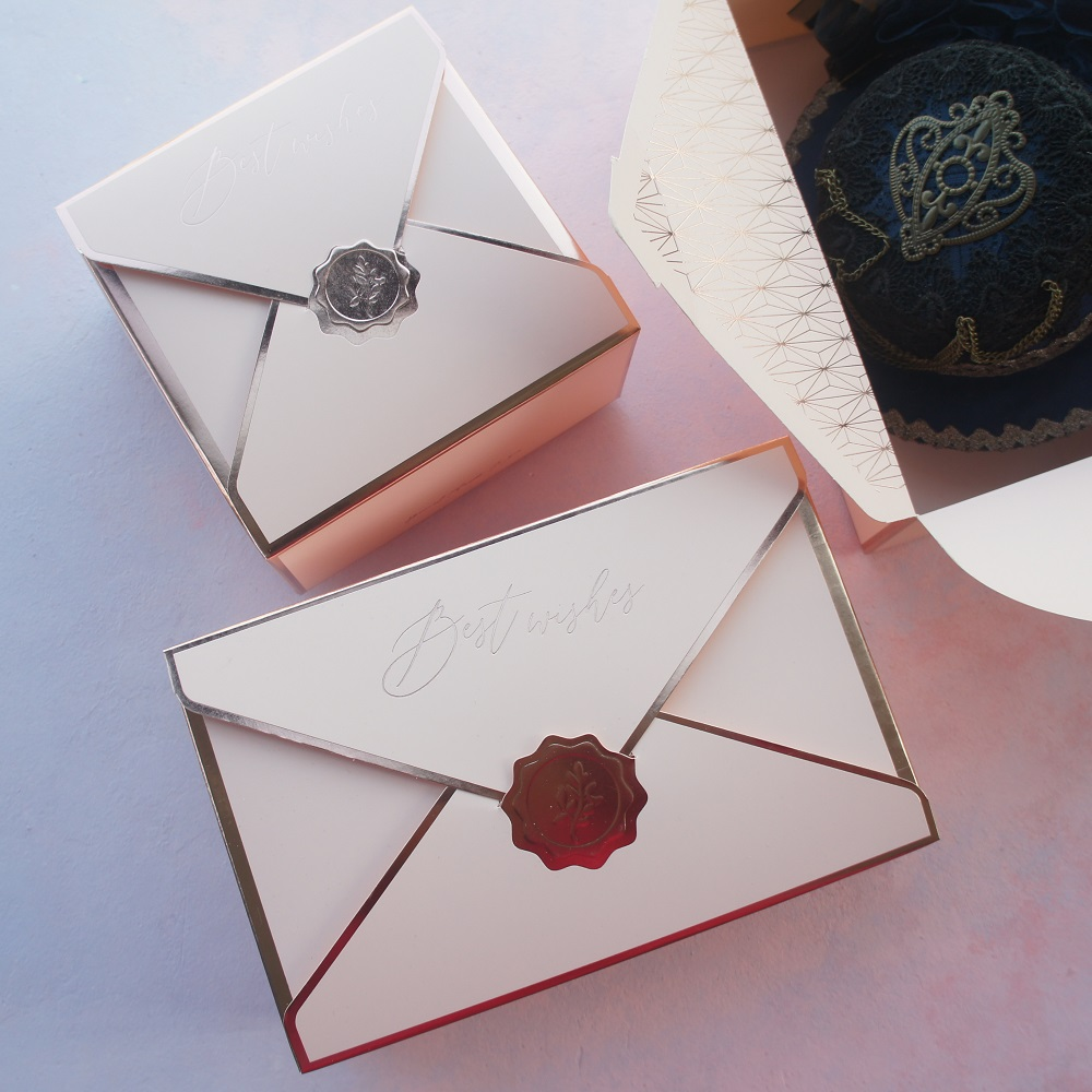 10pcs Envelop Rose Gold Pink Best Wish Design Cookie Macaron Candy Paper Box Wedding Birthday Party Gifts Packaging Boxes