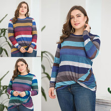 Stripe hot female T-shirt casual loose women large size round neck long-sleeved womens clothing