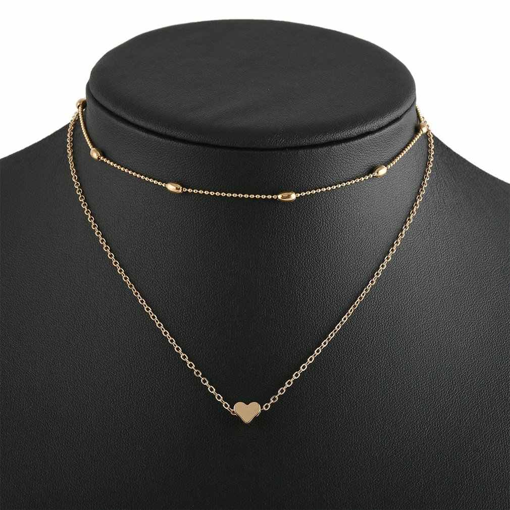 Jewelry Multi-Layer Peach Heart Set Neck Chain Clavicle Chain Fashion Trend Double Layer Simple Street Shoot Necklace Female