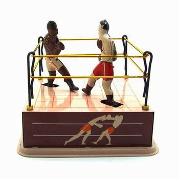 Vintage Style Tin Toy Boxing Ring Wrestling Boxers with Wind-Up Key Retro Gift