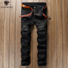 Aolamegs Jeans Men Hip Hop Patchwork Hole Denim Pants Solid Color Casual Slim Fit Trousers Spring High Street Fashion Streetwear