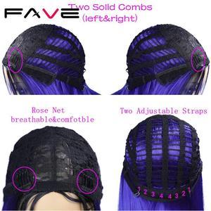 Image 5 - Женский парик из синтетических волос FAVE Ombre, голубой, розовый, коричневый, прямой термостойкий парик на плечо для косплея