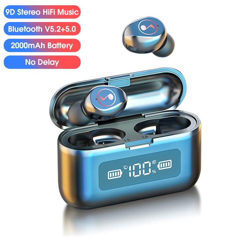 V5.2+5.0 Bluetooth Stereo Earphone Wireless Sport Waterproof Wireless Headphone Headsets Fingerprint Touch Earbuds Music Logo