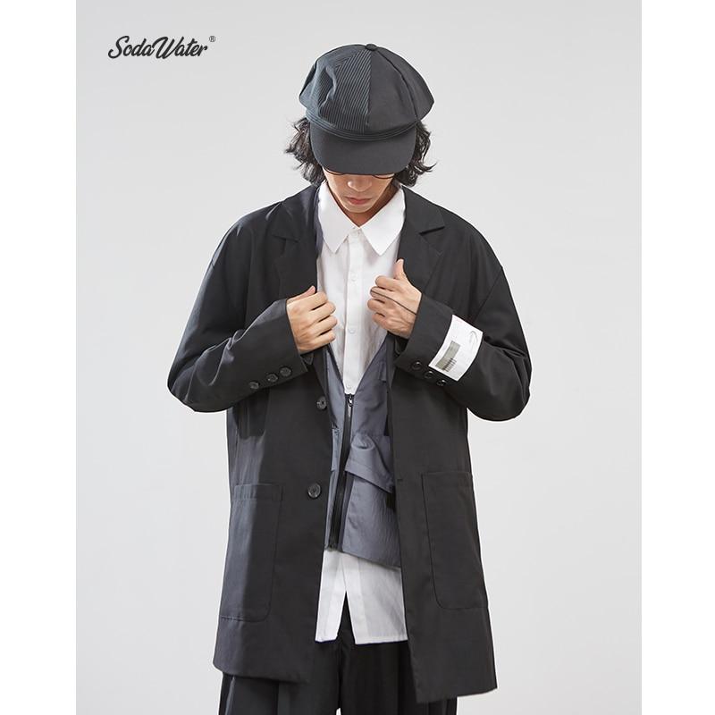 SODAWATER New Design Men Blazer Solid Suit Long Blazer Autumn Casual Loose Irregular Hem Cotton Men's Outfits Terno Masculino