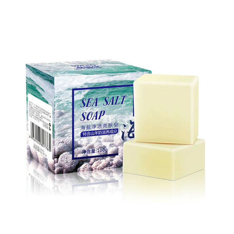 Newly Sea Salt Handmade Soap Face Body Cleaner Removal Pimple Acne Skin Care Whitening Soap CTN88