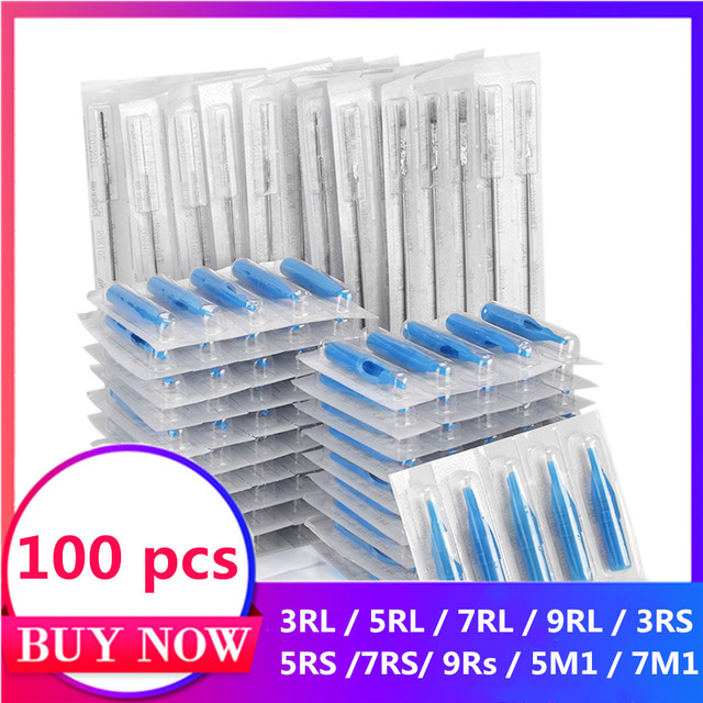 Tattoo Needles Cartridges Set 100pcs Disposable Mixed Tattoo Needles & 100pcs Assorted Tattoo Needles Tubes Includes Tattoo Tips