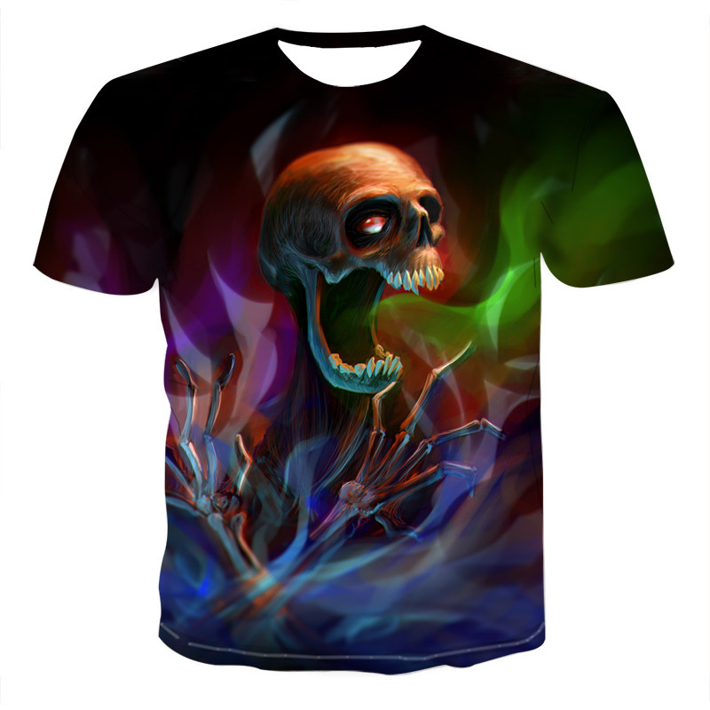 Summer Men T-shirts Casual O-neck Short Sleeve Tee Tops Hip Hop Style Clothes Fashion Streetwear Skull 3D T Shirt Male 4