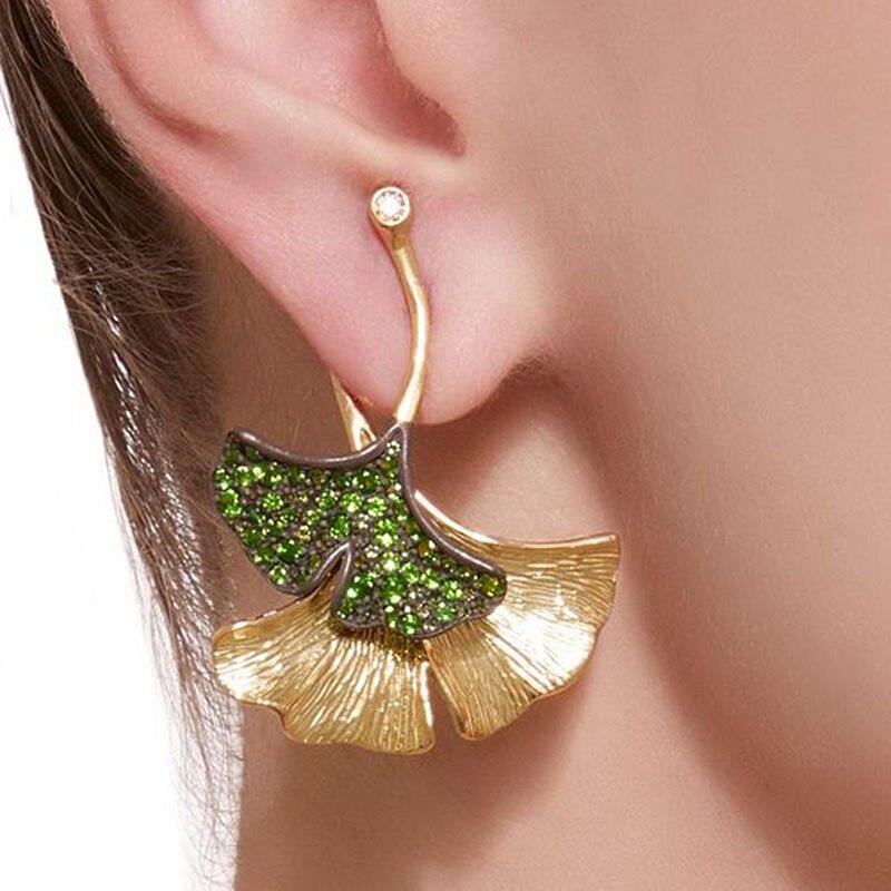 2019 Boho Gold Color Earrings Green Crystal Ginkgo Biloba Double Leaves Drop Earrings for Women Fashion Fine Jewelry F3D274