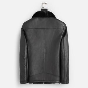 Image 2 - Good Mink Fur Lined Coat Men Winter Warm Casual Leather Sheepskin Jackets Top Quality Real Sheepskin Leather Outwear