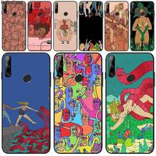 Riccu polly nem pintura arte suave preto caso de telefone para huawei y5 y6 y7 y9 prime 2019 desfrutar 7 8 9 10 plus