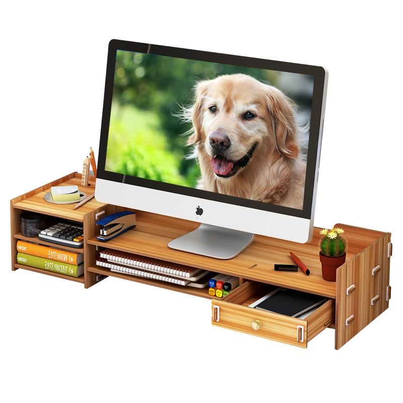 Computer monitor increased shelf support screen office supplies desktop storage box keyboard finishing rack Home Office Storage     - title=