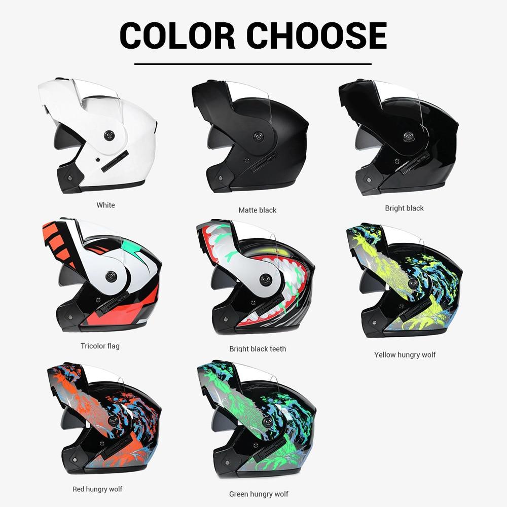 2019 nouveau Casque de Moto rabattable Moto modulaire double lentille Motocross Moto Casque Crash casques intégraux Casco Moto Casque # - 2