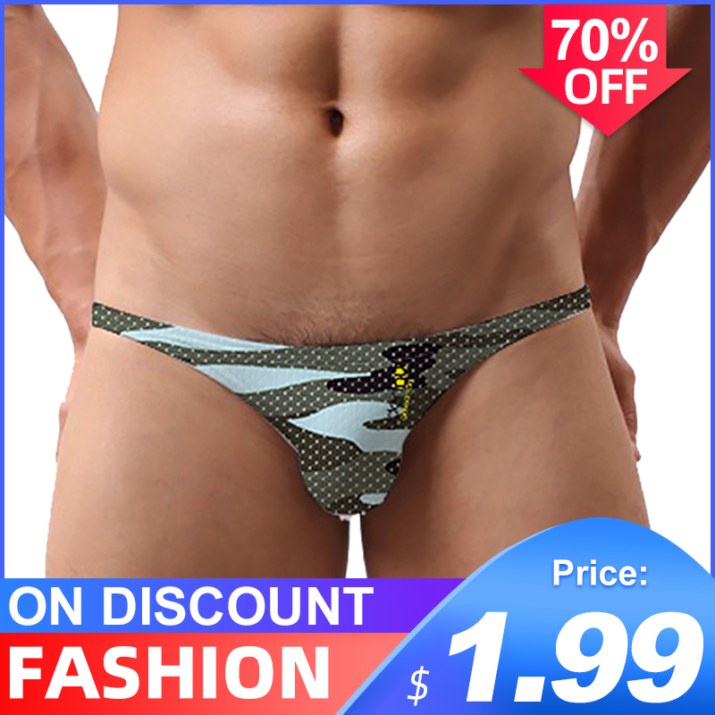 Camouflage Sexy Gay Underwear Men Thong Quick Dry 2020 NewJockstrap Mens Thongs And G Strings Sissy Panties String Men Lingerie
