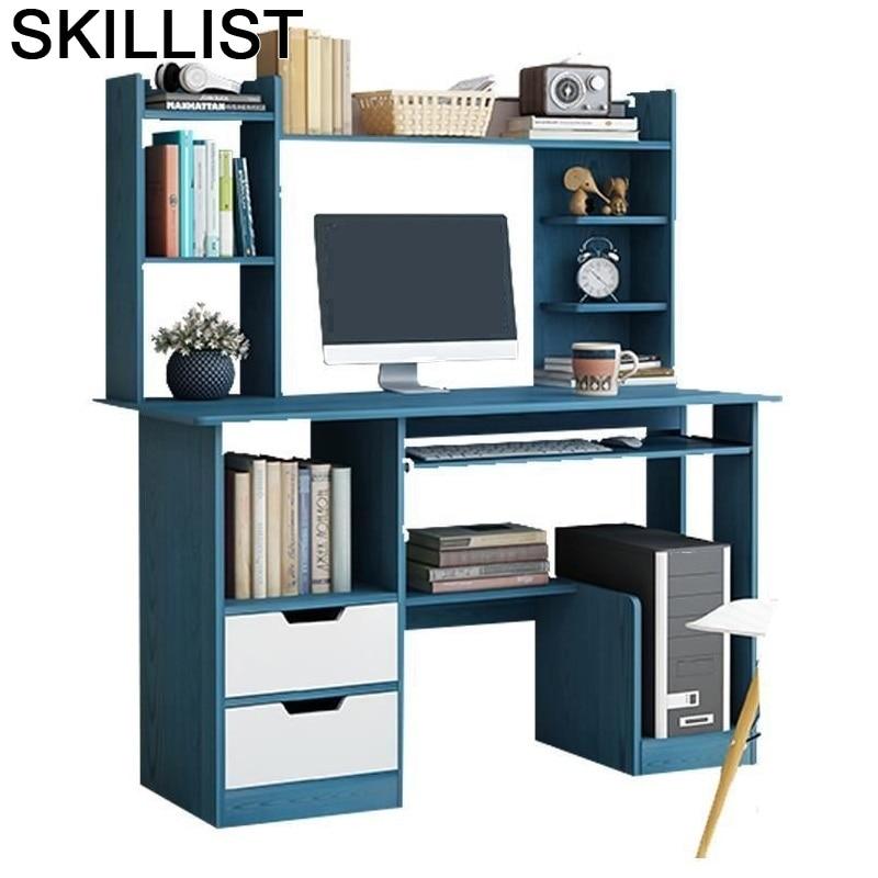 Portable Furniture Escrivaninha Office Bed Desk Tisch Scrivania Bedside Stand Mesa Computer Laptop Table With Bookshelf