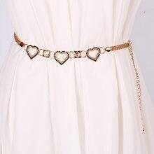 Elegant Women Rhinestone Love Heart Chain Belts Girdle Metal Classic Waistband Dress Pants Waist Chain Gold Silver Ladies Chains