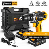 DEKO Banger 12V Loner 16V Sharker 20V Cordless Drill with LED Light Electric Screwdriver with Lithium Battery Mini Power Driver