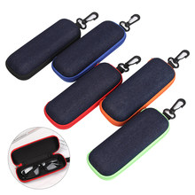 1PC Fashion Denim Fabric Glasses Box Zipper Protection Resistance Container Eyeglasses Case Travel Reading Glasses Carry Bag(China)